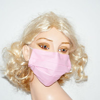Plain pink cotton mask, medical mask, surgical mask, flu mask, dirt mask, dust mask, pink