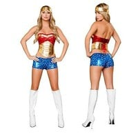 Wonder Woman Adult Costume Fancy Dress Halloween Costume Superhero Outfit Sexy
