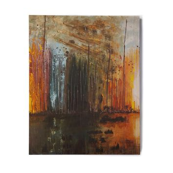"Steven Dix ""There's Fire"" Black Orange Painting Birchwood Wall Art"