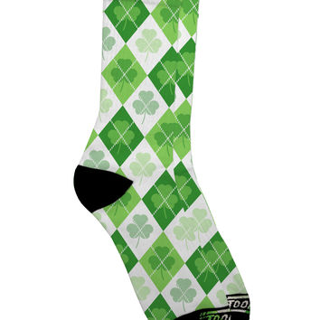St Patrick's Day Green Shamrock Argyle Adult Crew Socks All Over Print