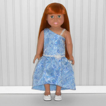 18 inch Doll Clothes Blue Flower Special Occasion Dress Prom Gown with Pearls American Doll Clothes