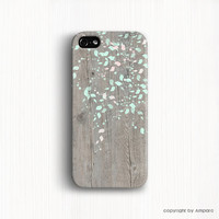 iPhone 6 case Floral Geometric on Wood Phone Case , iPhone 6 plus case iPhone 5s Case , Flower iPhone 4s case Brown,Mint case