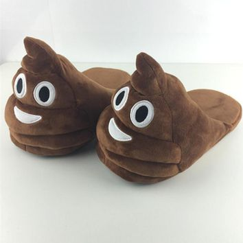 Women's Men's Emoji Shoes Warm House Slippers