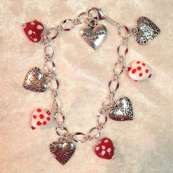 Red and Silver Heart Charmer Bracelet, Red and White Lampwork Glass Beads and Silver Metal Hearts on a Silvertone Chain Bracelet