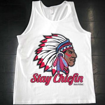 STAY CHIEFIN' TANK WHITE SKY RED $22