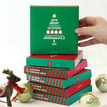 5pcs Merry Christmas Tree Vintage greeting cards with Envelops and Sticker Christmas gifts souvenirs postcards Recycled