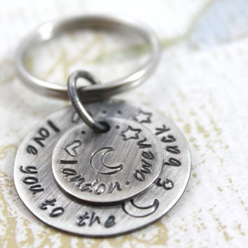 Personalized Key Chain with Names, Love You To the Moon and Back, All Sterling Silver, Gift for New Parents, Mom, Dad or Grandparents