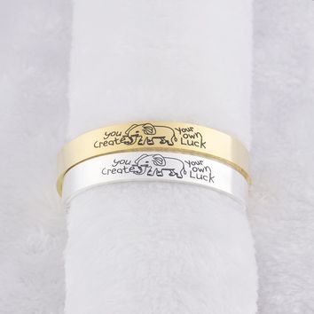 """You Create You Own Luck"" Inspirational Quote Elephant Cuff Bracelet"