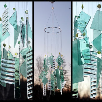 Pale Green Stained Glass Wind Chime  Indoor Outdoor Decor Garden