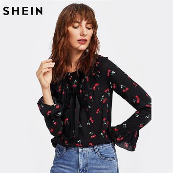 SHEIN Cherry Print Bell Cuff Frilled Top Autumn Womens Printed Blouse Black Long Sleeve Ruffle Bow Front Cute Blouse