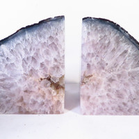 Vintage Icy White Agate Geode Halves Bookends - Agate Geode Halves Bookends