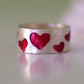 Sterling Silver Band Ring with Red Hearts by Nafsika on Etsy