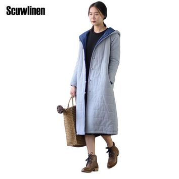 SCUWLINEN 2017 Winter Coat Women Solid Hooded Vintage Handmade Plate Buttons Closure Long Cotton Jackets Women Casual Parka S271