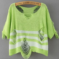 Green Short Sleeve Striped Ripped Knit Cropped Sweater