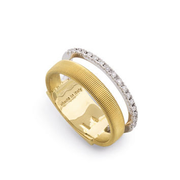 Marco Bicego Masai Illusion 18K Yellow & White Gold Ring with Diamonds, Size 7