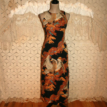 Silk Hawaiian Dress Eagle Print Sleeveless Summer Maxi Small Sheath Long Silk Dress Unique Novelty Black Gold Size 4 Dress Womens Clothing