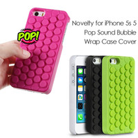 For Apple iPhone SE 5 5s Reduce Stress Novelty PoP Sound Bubble Wrap Case Shell for iPhone SE 5s 5 Interesting Gadget