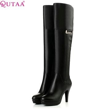 QUTAA 2018 Women Over The Knee High Boots Westrn Style Rouns Toe Zipper Black Sexy Square High Heel Women Boots Size  34-40