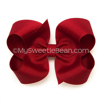 "Rich Red Hair Bow, 4 inch Large Boutique Bow, Cranberry Hairbow, Classic Hair Bows for Toddlers, Baby Girls, Dark Red Grosgrain Bow, 4"" Bow"
