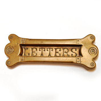 FREE SHIPPING Vintage Antique Decorative Brass Letters Door Slot, Mail (ET182)
