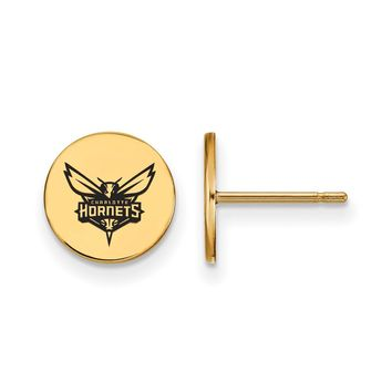 NBA 14k Gold Plated Silver Charlotte Hornets Enamel Disc Earrings