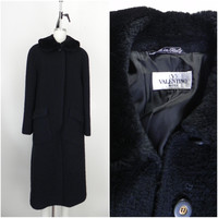 Vintage Inspired 1990s Valentino Wool Black Coat