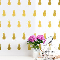 Pineapple Wall Decal / 45 Pineapples Sticker / Modern Gold Wall Decal / Office Wall Decal / Kids wall decoration / Nursery Wall Decal / gift