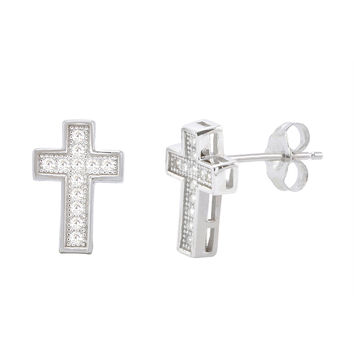 Sterling Silver Cross Stud Earrings Micropave Cubic Zirconia 13mm x 9mm Pushback
