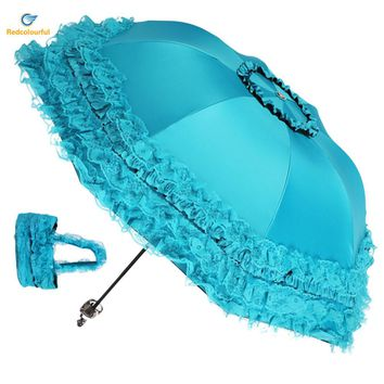 Redcolourful 4 Colors Women Sun Rain Umbrella Anti-UV Waterproof Parasol Folding Umbrella Lovely Princess Lace Sunshade Umbrella