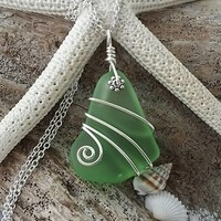 """Handmade in Hawaii wire wrapped peridot green sea glass necklace,  """"August Birthstone"""", Sterling silver chain,Hawaiian  jewelry"""