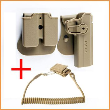 Tactical 1911 Gun Holster Retention Roto Holsters and Gun Sling Double Magazine Holster for Colt 1911 45 Ruger 90 97 Sig 220 245