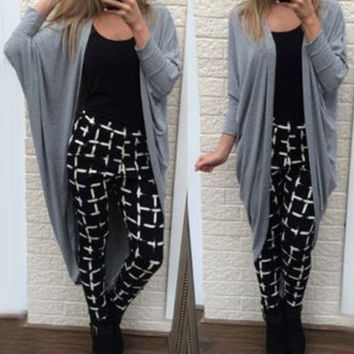Gray Collarless Long Sleeve Long Cardigan
