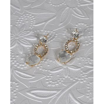 Crystal and Rhinestone Embellished Drop Earrings