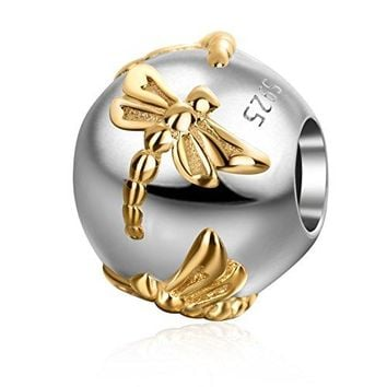 Gold Plated Dragonfly Round Charms 925 Sterling Silver Animal Charm for 3mm Snake Chain Bracelet