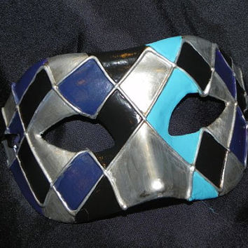 Turquoise, Teal and Navy Masquerade Mask with Harlequin Design