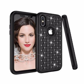 For Apple iPhone 7 8 6S Plus X PC + Silicone Bling Rhinestone Glitter Armor Case For iPhone X 7 8 6 Plus Anti Shock Impact Cover