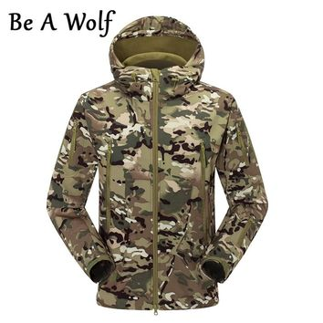 Be A Wolf Hiking Jackets Softshell Sports Camouflage Hunting Men Winter Inner Fleece Waterproof Coat Camping Skiing Clothes F056