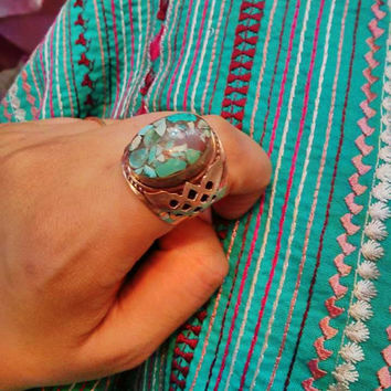 Turquoise Silver ring- Ethnic jewelry- Tribal Tibetan Turquoise ring- Bohemian ring- Gypsy jewelry- Turquoise ring- Nepali ring