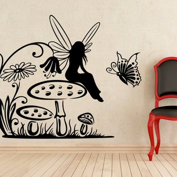 Fairy on Mushroom Floral Pattern Wall Decal Vinyl Sticker Home Interior Murals Art Decoration Made in US
