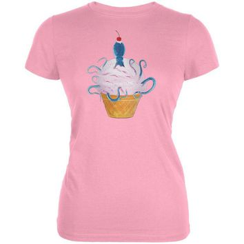 DCCKJY1 Ice Cream Cone Octopus Light Pink Juniors Soft T-Shirt