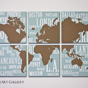 The Custom Map and Cities Screen Print by CallaghanArtGallery