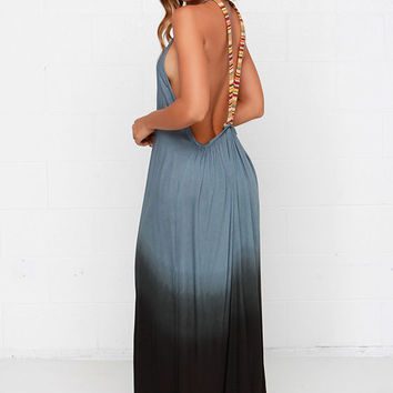 Southwest Sunset Slate Blue Dip-Dye Maxi Dress
