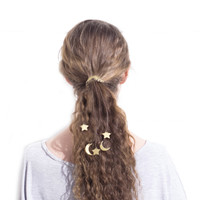 Crescent Moon Hair Tie Color Leather Cosmic Hair Piece Celestial Hair Accessory Your Color Choice
