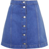 MOTO Bright Blue Button Front A-Line Skirt - Topshop