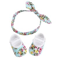 Soft Soled Newborn Girl Baby Shoes Floral Headband Set 2016,Cute Flower Toddler Baby Girl Shoes First Walkers Sapato Bebe Menina