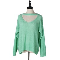 V-Neck Sexy Long Sleeve Choker Casual Loose Blouse Pullover Tops Knit Sweater Women Spring Clothing