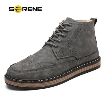 BEAND SERENE Mens Fashion Boots Work & Safety Boots Tooling Boots Casual Leather Lace-Up Ankle Boots 3 Color Retro Shoes YG-77-1