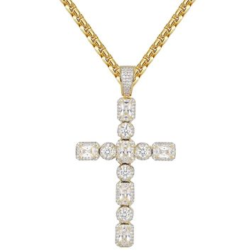 Men's Baguette Solitaire Style Custom Cross Pendant