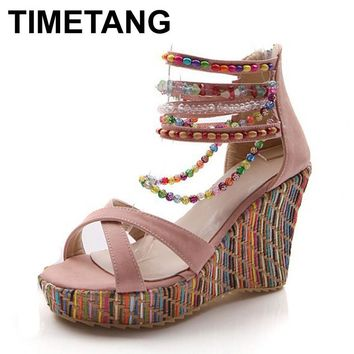 TIMETANG fashion new Bohemia beaded sandals female wedge platform shoes gladiator ankle strap elegant women high heel sandals