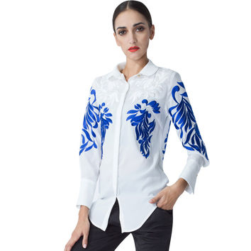 2016 Top Fashion Women's National Baroque Blouse Embroidery Runway Retro Shirt Plus Size 3XL High Quality Personalty